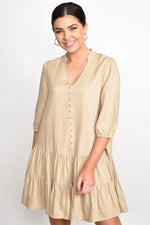 Emmy Linen Blend Drop Waist Dress (Natural)