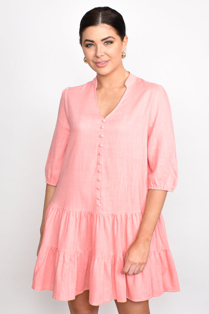 Emmy Linen Blend Drop Waist Dress (Pink)