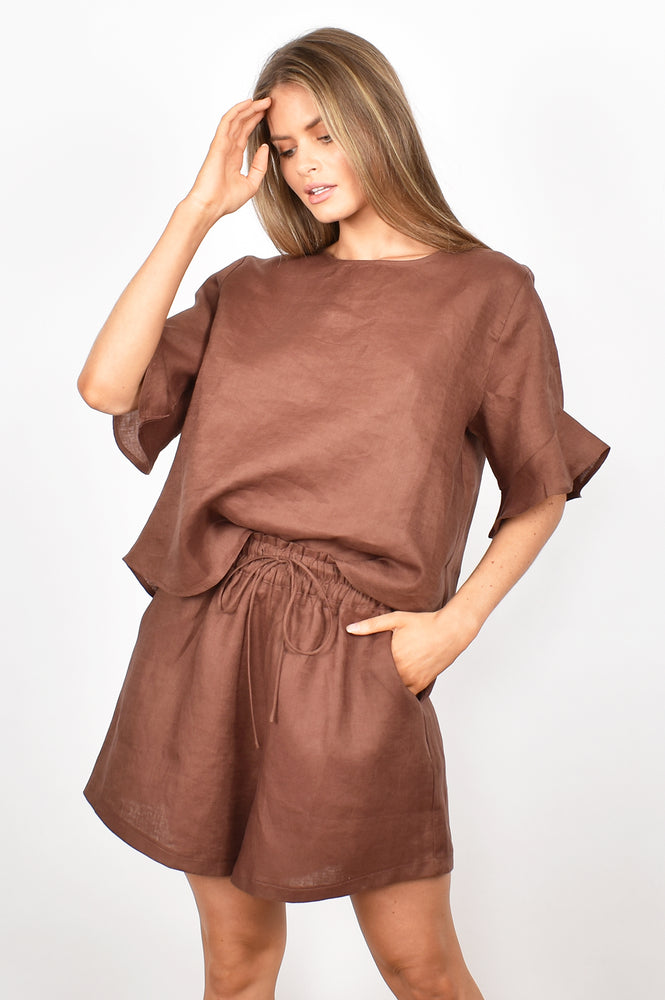 Billy Luxe Linen Shorts (Chocolate)