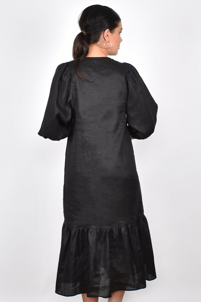 Lillian Puff Sleeve Linen Midi Dress (Black)