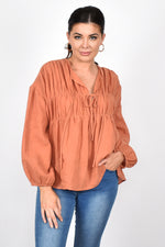 Evie Tiered Long Sleeve Linen Top (Rust)