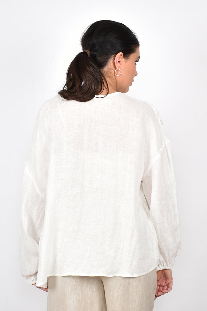 Evie Tiered Long Sleeve Linen Top (White)