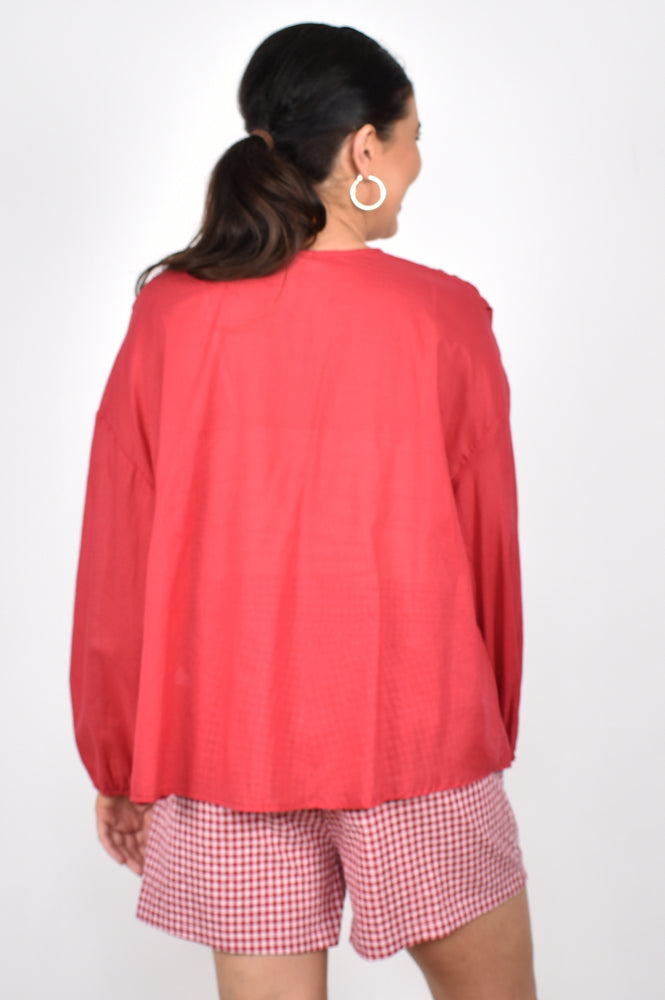 Evie Tiered Long Sleeve Top (Berry)