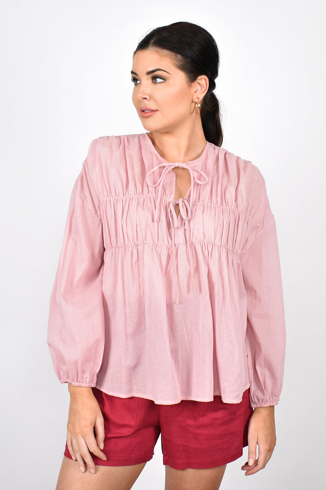 Evie Tiered Long Sleeve Top (Pink)