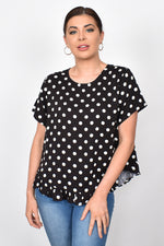 Josie Spot Ruffle Top (Black)