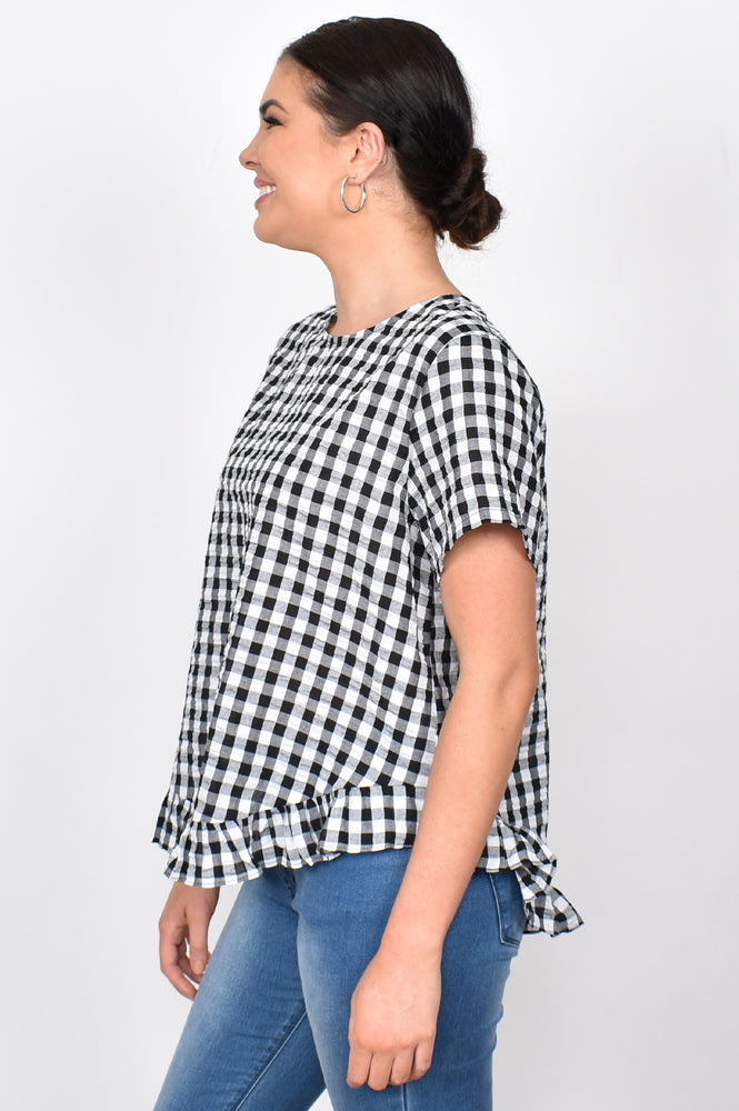 Josie Check Ruffle Top (Black)