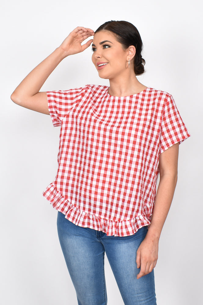 Josie Check Ruffle Top (Red)