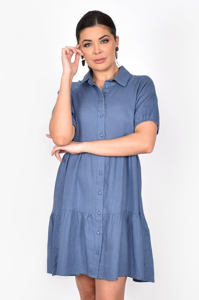 Monica Linen Blend Tiered Dress (Blue)