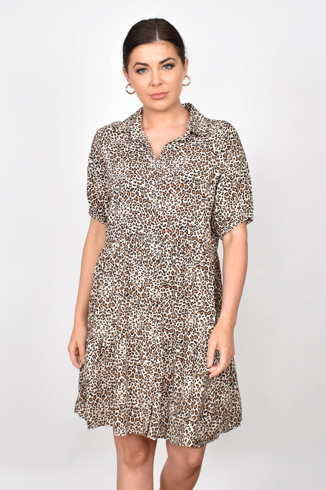 Monica Button Leopard Tiered Dress (Leopard)