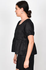 Gracie Layered Linen Top (Black)