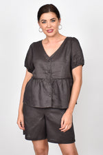 Gracie Layered Linen Top (Charcoal)