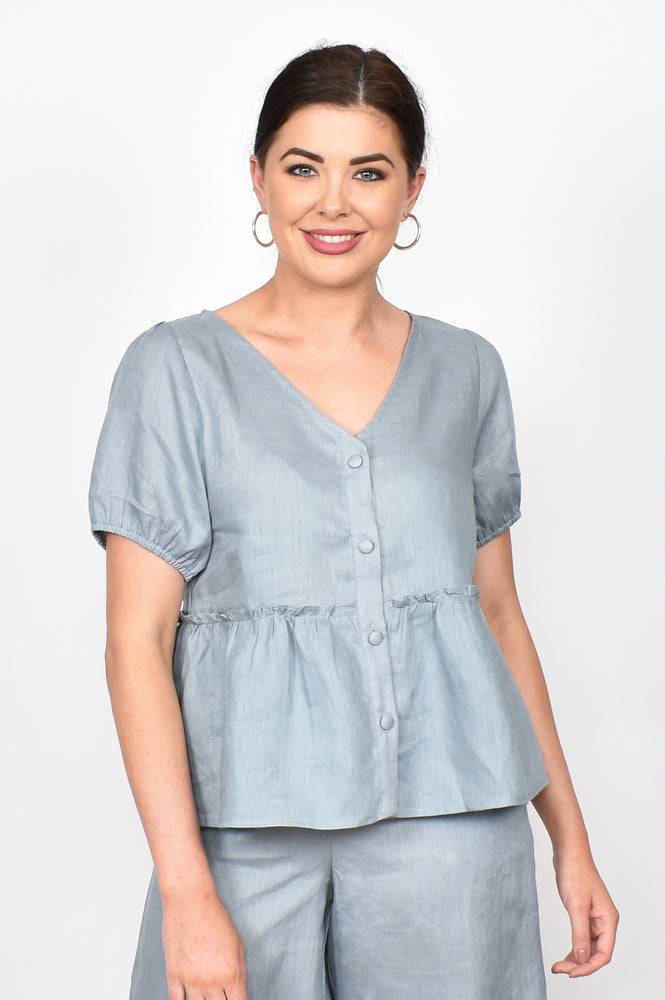 Gracie Layered Linen Top (Steel Grey)