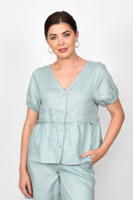 Gracie Layered Linen Top (Sage)