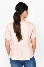 Gracie Layered Linen Blend Top (Pink)