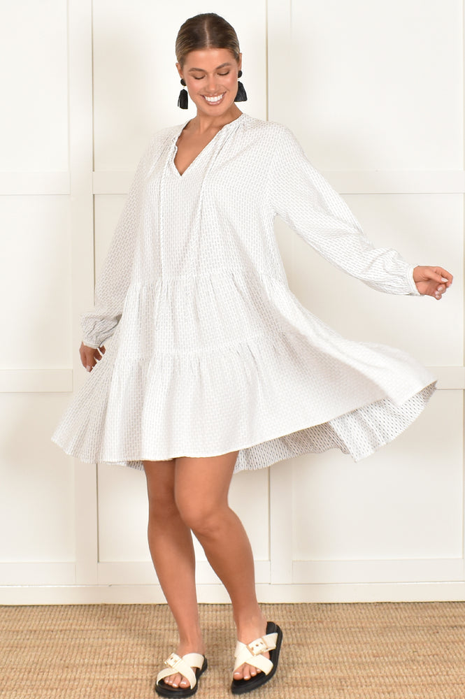 Angie Long Sleeve Tiered Dress (White)