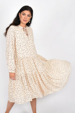 Aria Tiered Spot Midi Dress (Cream/Black)