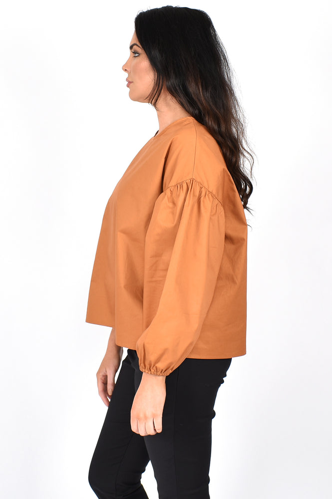 Bonnie Poplin Top (Tan)