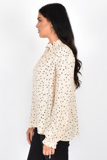 Sadie Ruffle Collar Spot Top (Cream/Black)