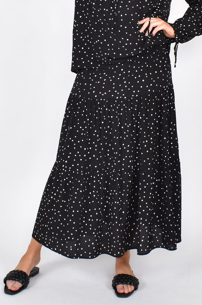 Mia Spot Skirt (Black/Cream)