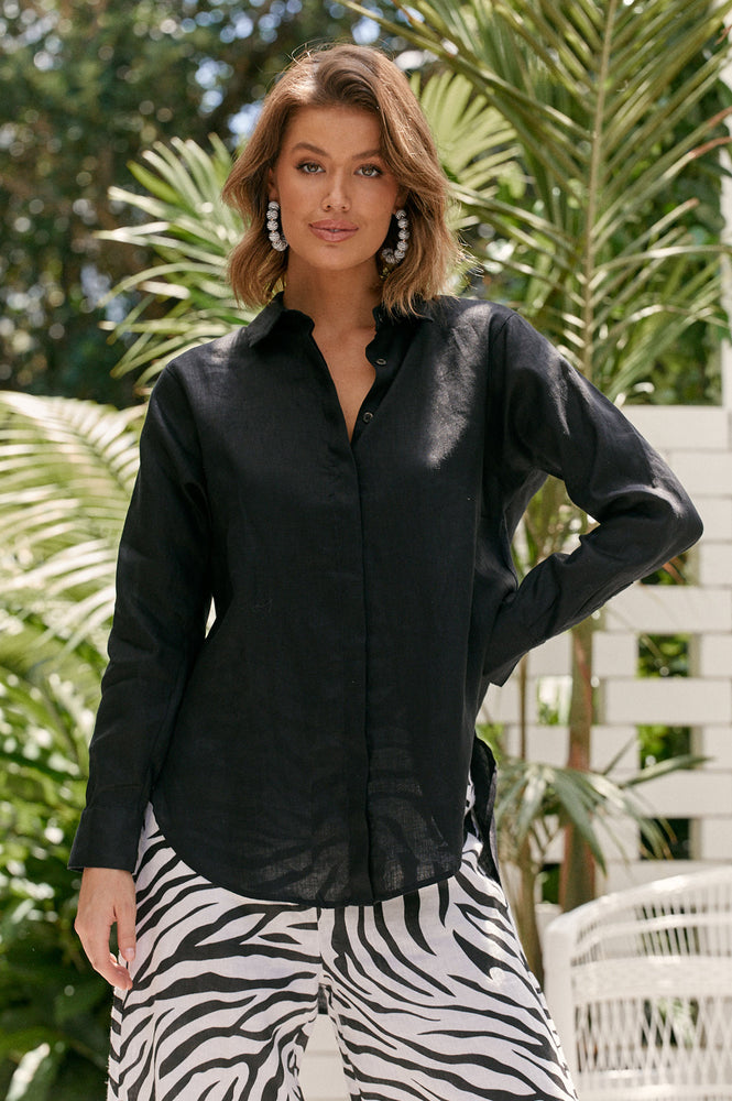 Charlie Linen Shirt (Black)