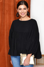 Zoe Tiered Top with Puff Sleeve (Black)