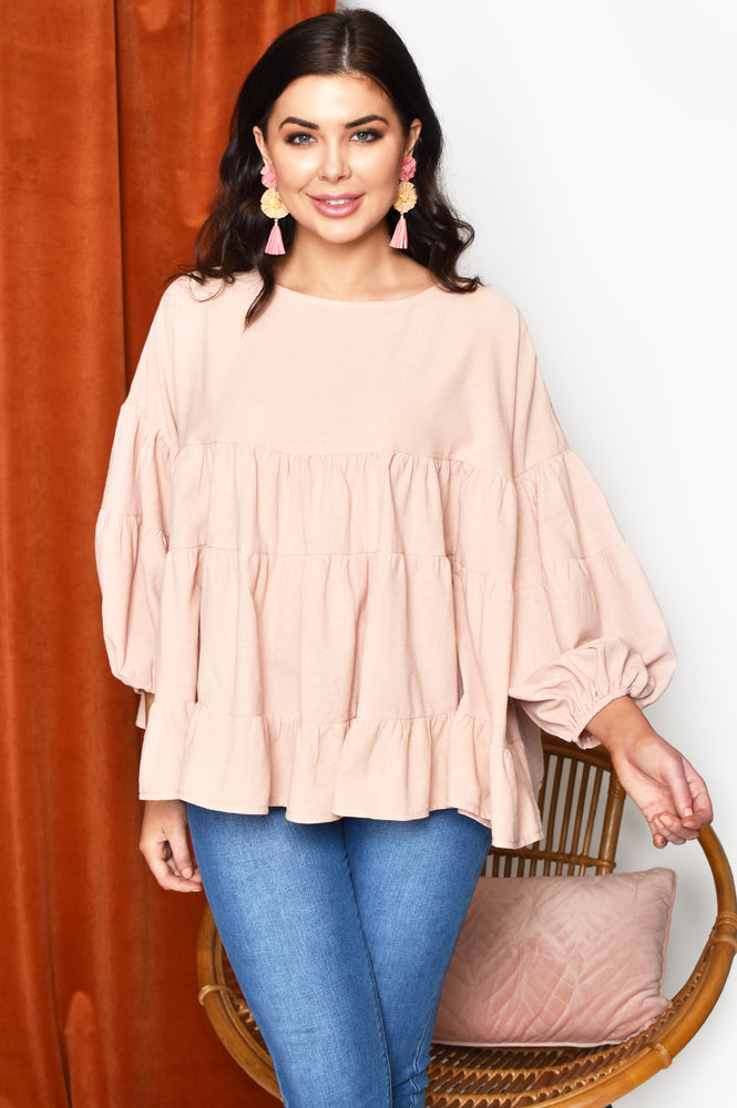 Zoe Tiered Top with Puff Sleeve (Blush)