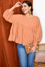Zoe Tiered Top with Puff Sleeve (Rust)