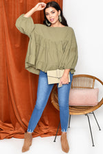 Zoe Tiered Top with Puff Sleeve (Sage)