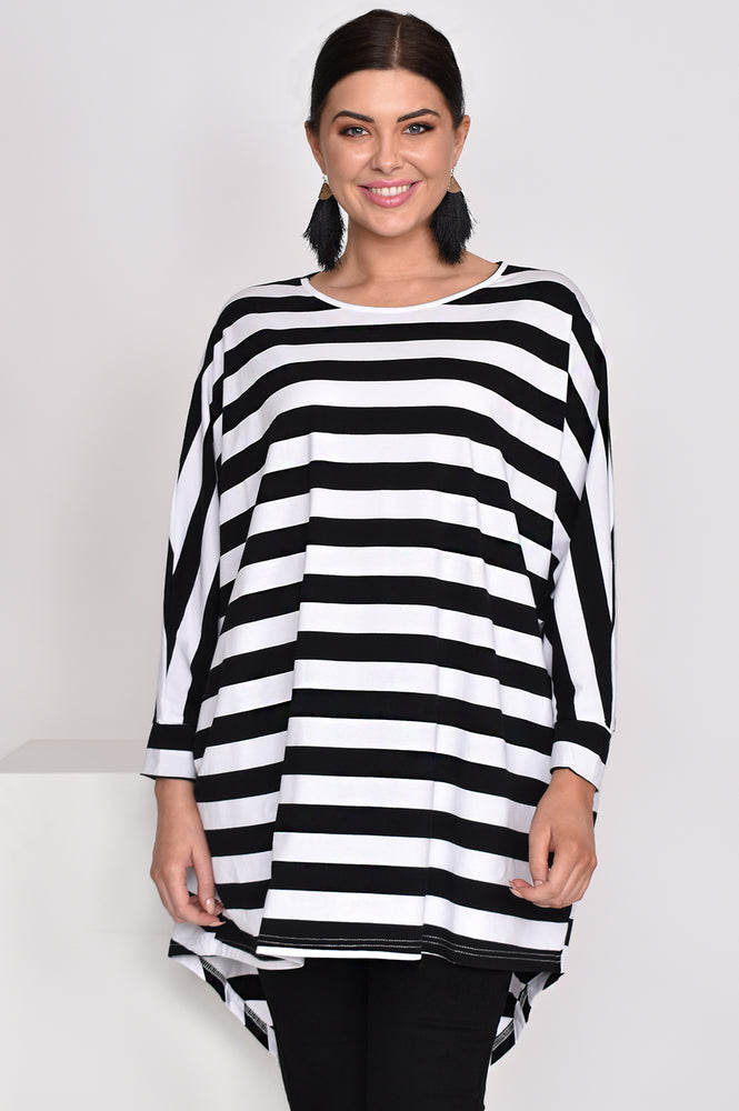 Stripe Hi Lo Top (Monochrome)