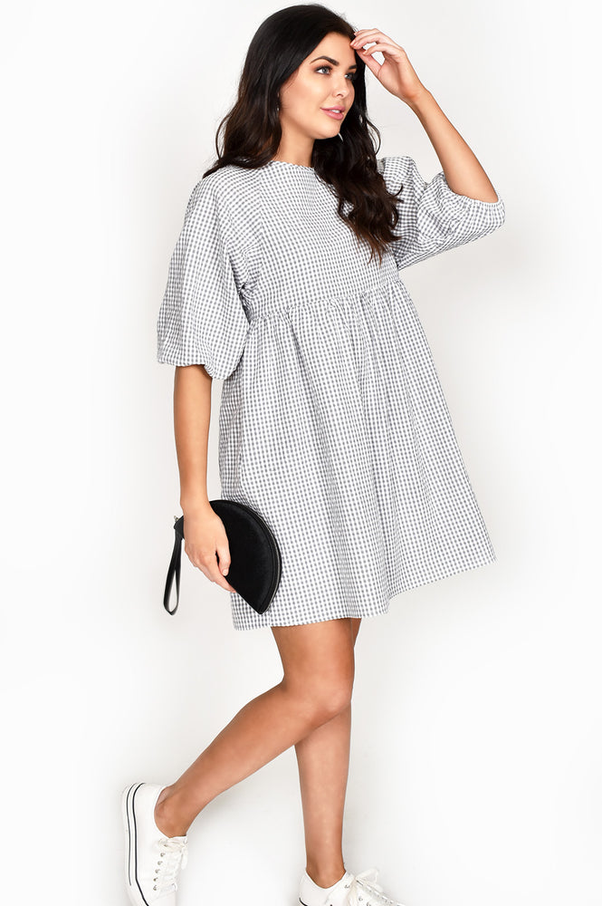 Gingham Smock Dress (Black/White)
