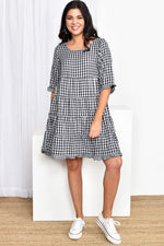 Tiered Gingham Dress (Black/White)