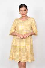 Tiered Gingham Dress (Yellow)