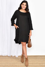 Ruffle Edge Dress (Black)