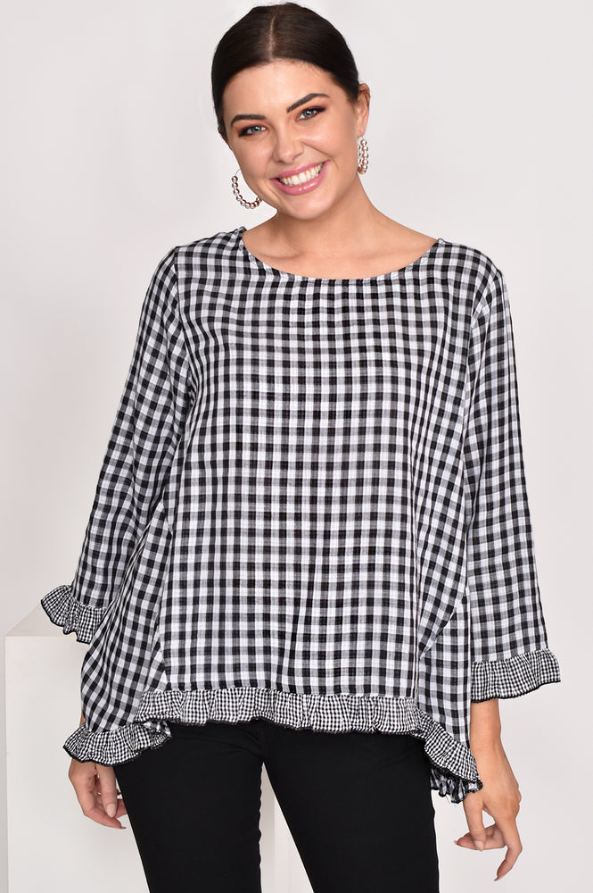 Gingham Ruffle Edge Top (Monochrome)