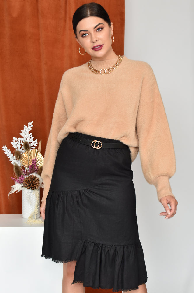 Frayed Hem Skirt (Black)