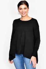 Drop Hem Knit Top (Black)