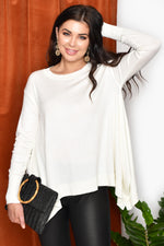 Drop Hem Knit Top (White)