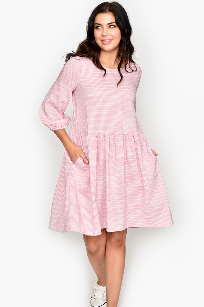 Mini Check Dress (Blush)