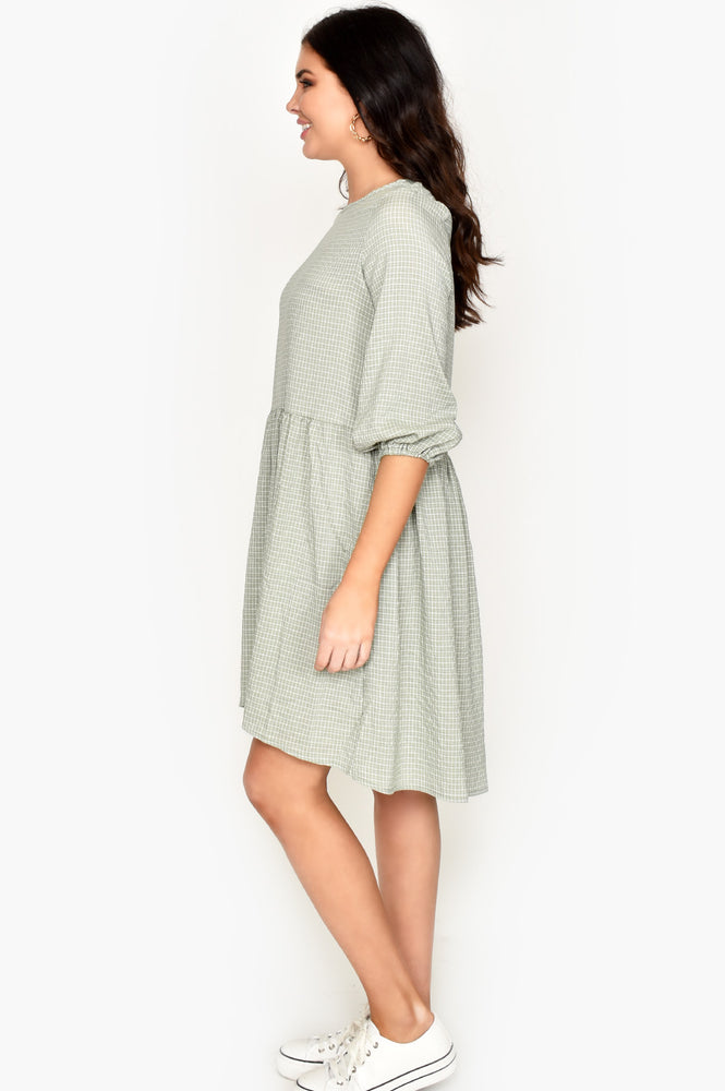 Mini Check Dress (Khaki)