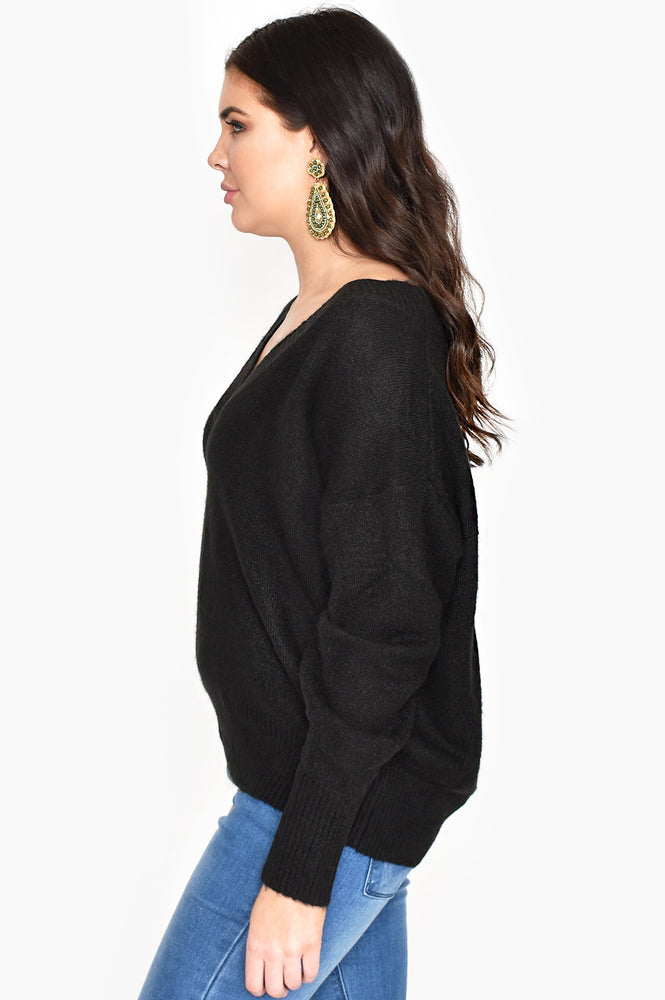 V Neck Soft Knit Jumper (Black)