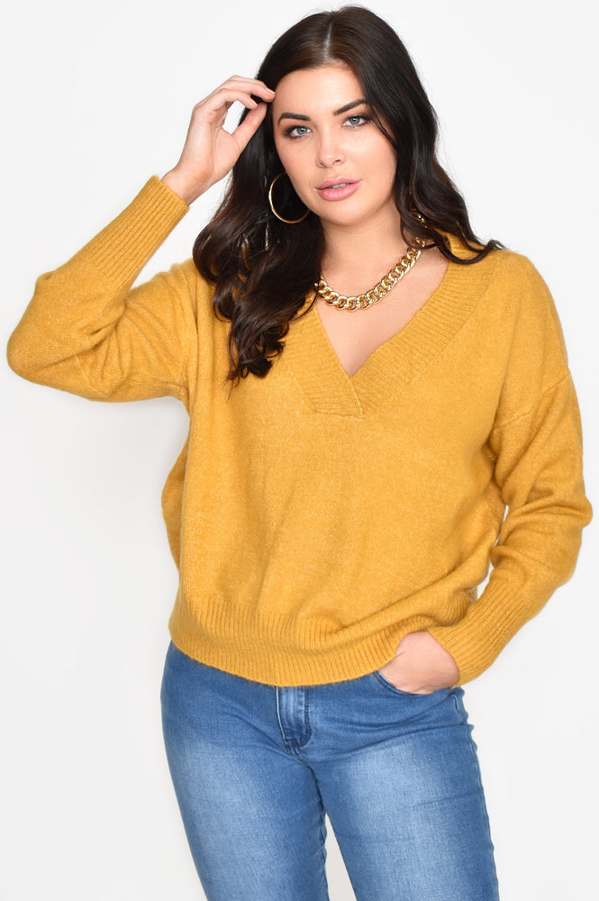 V Neck Soft Knit Jumper (Mustard)