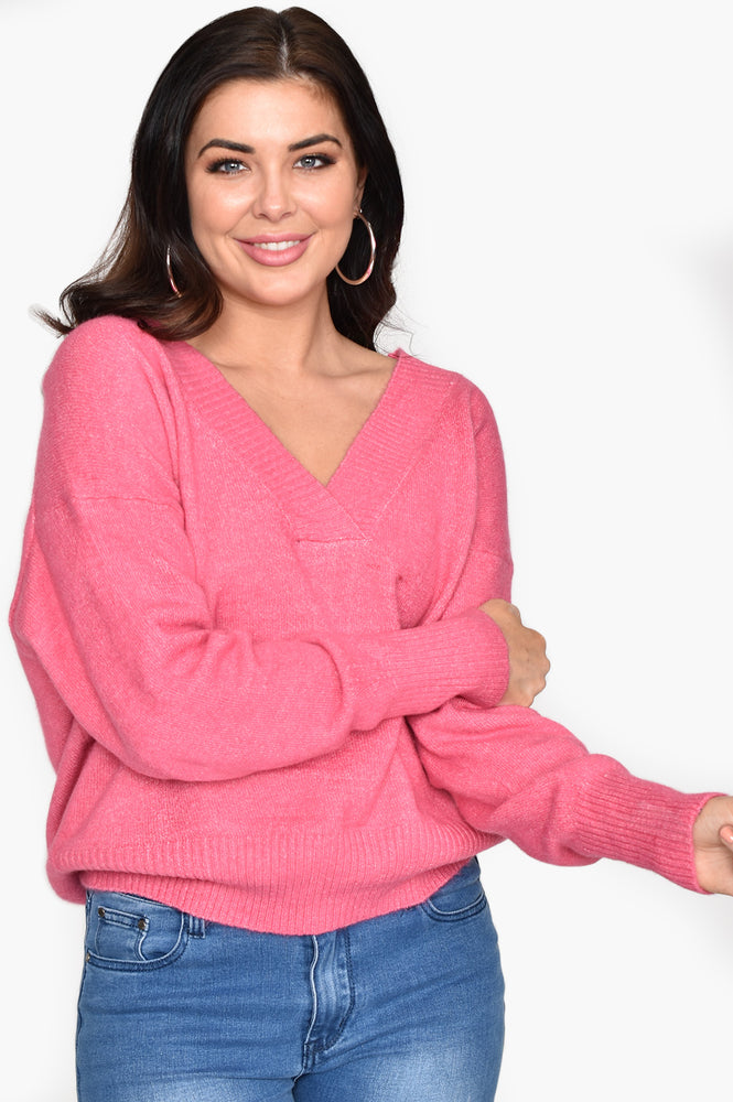V Neck Soft Knit Jumper (Pink)