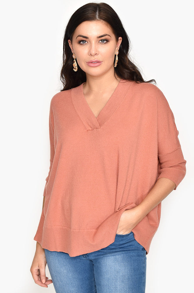 V Neck Knit Jumper (Rust)