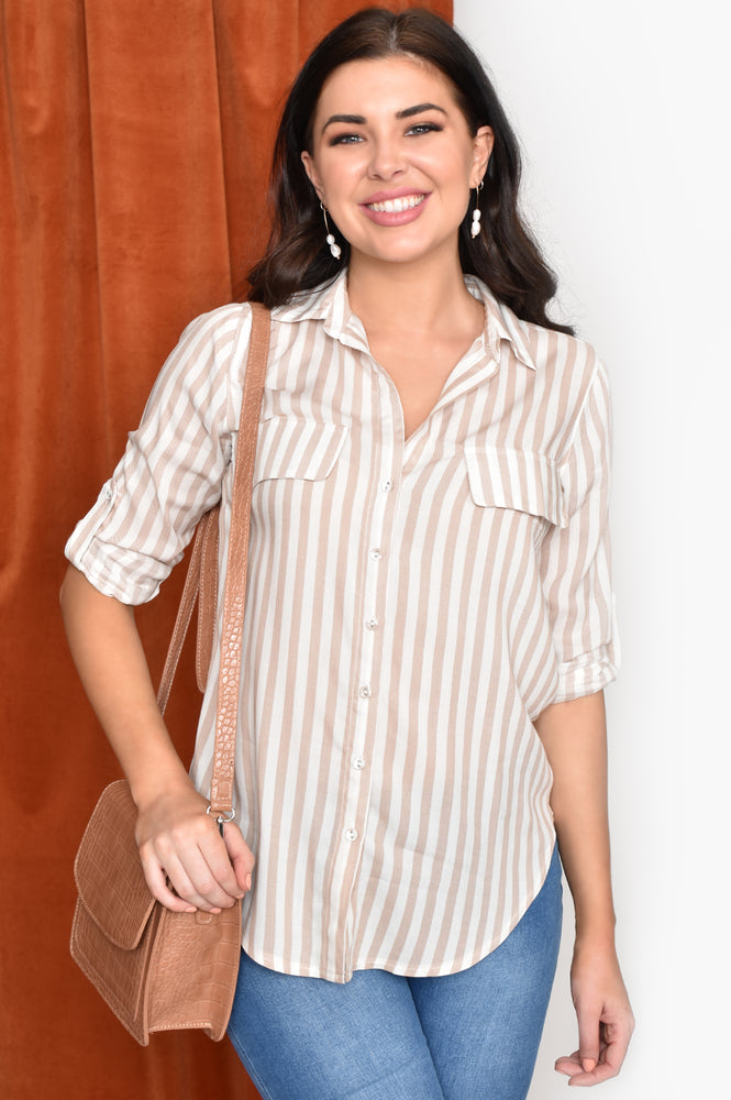 Stripe Shirt (Tan)