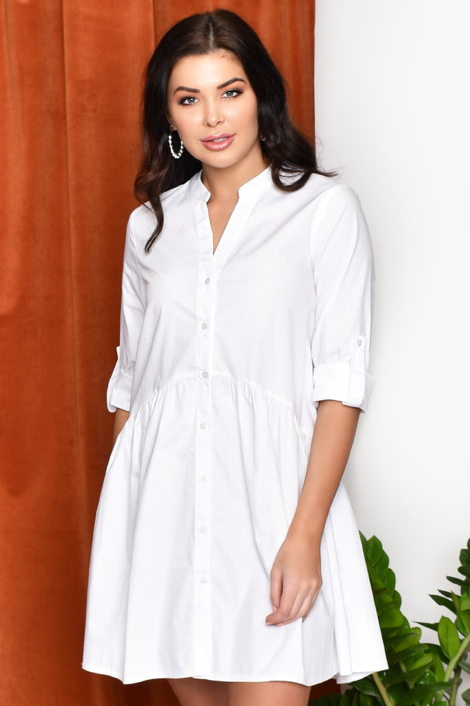 Drop Waist Shirt Dress (White)