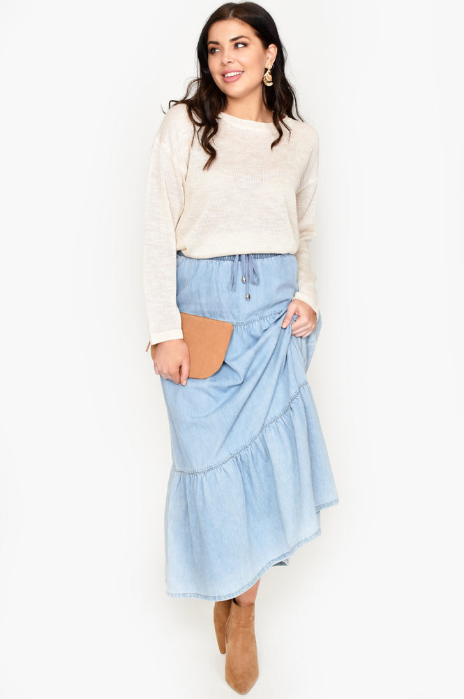Tiered Maxi Denim Skirt (Denim)