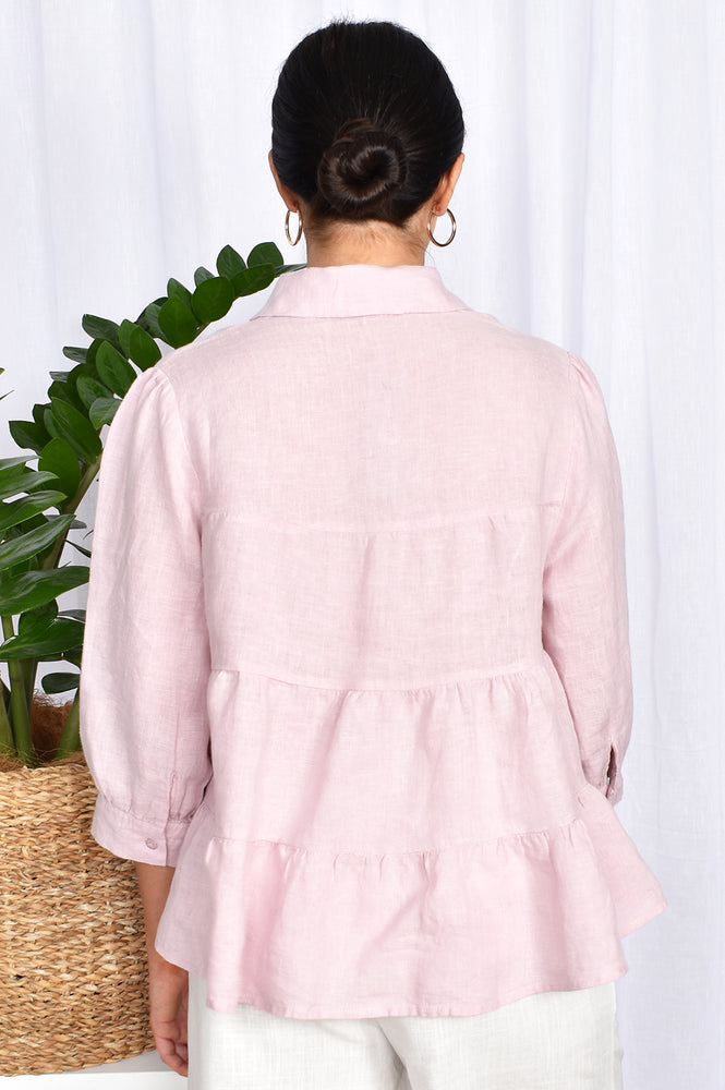 Button Through Tiered Collar Shirt (Lilac)