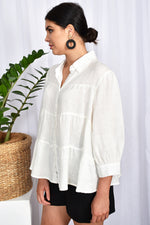 Button Through Tiered Collar Shirt (White)