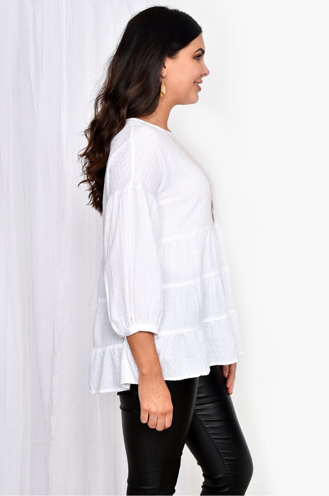 Tiered 3/4 Sleeve Top (White)