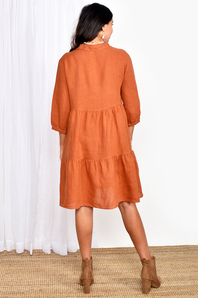 Collared Tiered Dress (Rust)